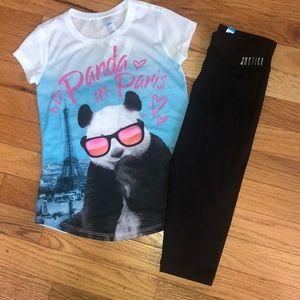 Justice Panda Set size 6 NWT Cute Capri